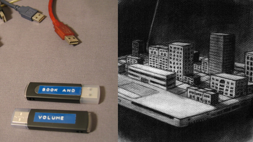 Book and Volume USB keys and cover illustration