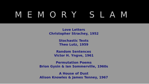 Memory Slam index