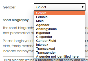 AWP's gender options