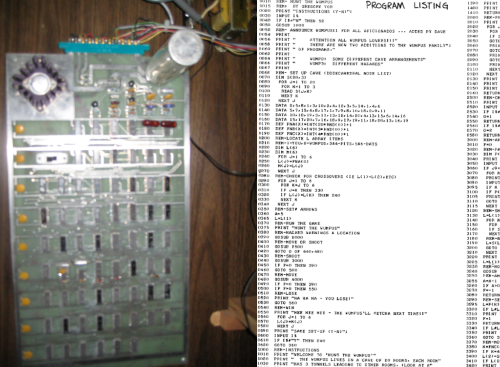 Pong's circuit board on the left, BASIC code from Hunt the Wumpus on the right