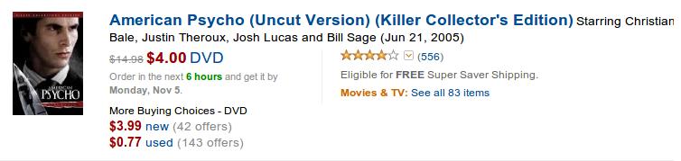 Amazon provides American Psycho