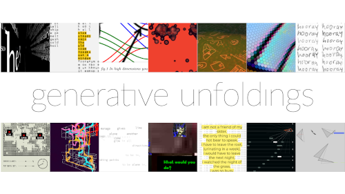 Generative Unfoldings, 14 images from 14 generative artworks