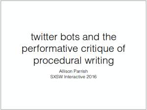 Twitter Bots and the Performative Critique of Procedural Writing