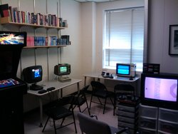 <i>Asteroids, Tempest 2000, Pitfall!</i> (for Intellivision!), <i>Air-Sea Battle,</i> and <i>Yars' Revenge</i> set up and waiting for players in the Trope Tank.
