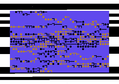 Screenshot from Tyger Tyger; black and white border, scattering of orange and black characters on blue